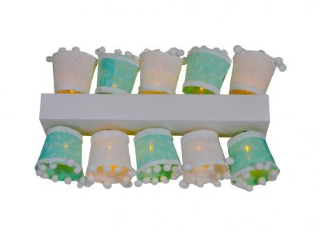 GUIA LED X10 FAROLES COLORES PASTEL H6X5CM SW
