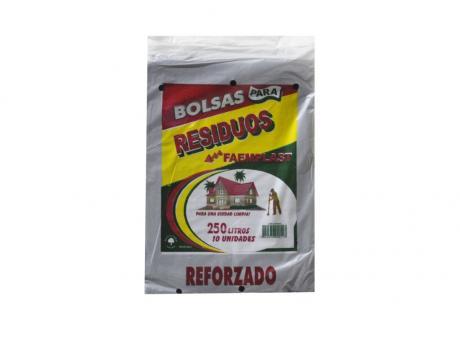 FP BOLSA BASURA REFORZADO 250 LTS  80X110X35  10 HJS -