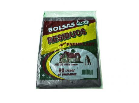 FP BOLSA BASURA 80 LTS NEGRO 10 HJS  53X70X15